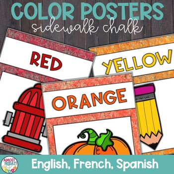 Color Posters with Sidewalk Chalk in English, Spanish, and French