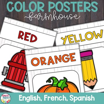 Color Posters with Whitewashed Wood in English, Spanish, and French