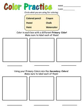 Color Practice Worksheet for Primary Grades