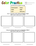 Color Practice Worksheet for Primary Grades