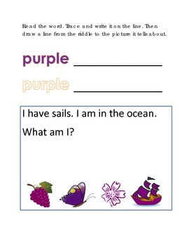 Color Purple Reading Riddles Word Clues Emergent Reader Interactive What am I