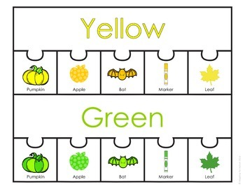 Color Sorting Work Task for Special Education and Autism (Fall)