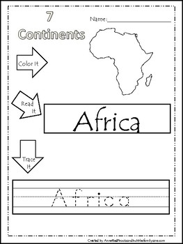 Continents Coloring Page With Color The Continents Asia Worksheet ...