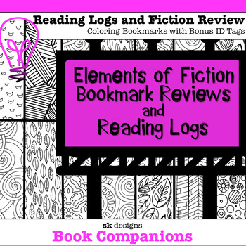 Coloring Bookmark Reading Logs w Elements of Fiction Record and Bonus Bag Tags