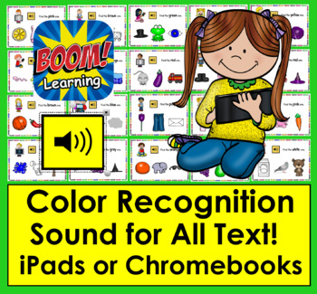 Color Recognition - 22 Interactive Self-Chcking With Sound - Boom Cards™