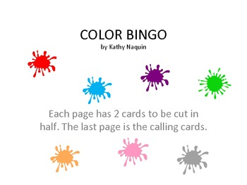 Color Recognition Bingo
