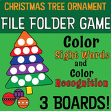 Kindergarten Sight Word FILE FOLDER GAME -Color Sight Words- Christmas