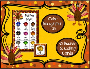 Color Recognition Turkey Bingo Game Thanksgiving Classroom