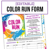 Color Run Event Registration Form - Editable Word Doc