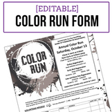 Color Run Event Registration Form - Editable - BW