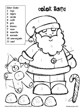Color Santa Spanish and English Color Words