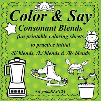 Color & Say: Consonant Blends (articulation practice)