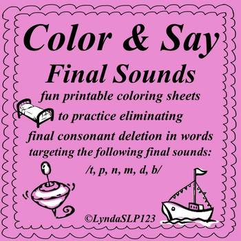 Color & Say: Final Sounds (articulation practice)