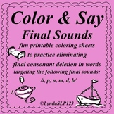 Color & Say: Final Sounds (articulation practice)