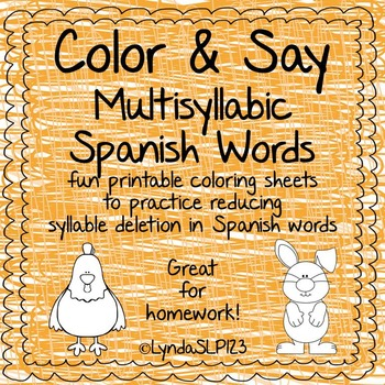 Color & Say: Multisyllable Spanish Words (articulation therapy)