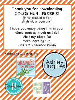 Color Scavenger Hunt FREEBIE