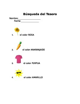 Color Scavenger Hunt in Spanish