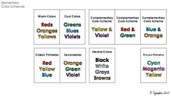 Color Scheme Cards Printable