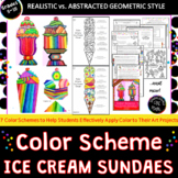 Color Scheme Ice Cream Sundaes- Art Sub Plan - 3 Project Variations & Printables