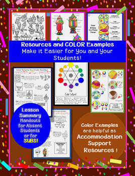 Color Scheme Ice Cream Sundaes- Art Sub Plan - 3 Project Variations & Printables