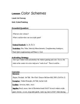 Color Scheme Lesson Plan