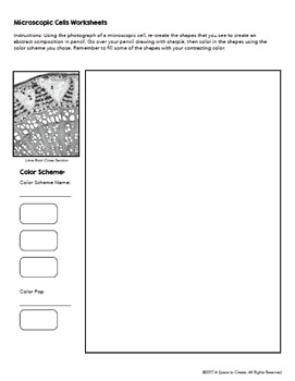 Color Scheme Worksheets - STEAM: Art and Science Microscopic Cells