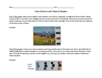 Color Scheme with Tints & Shades Activity