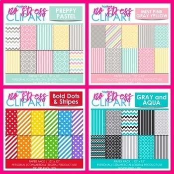 Color Schemes Digital Papers BUNDLE