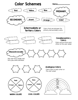 Color Schemes Worksheet To Learn About Theory
