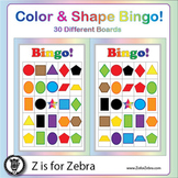 Color & Shape Bingo - 30 Different Boards + Extras! { Z is for Zebra }