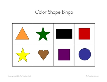 picture regarding Shape Bingo Printable called Colour Form Bingo Sport - PreK - Kindergarten