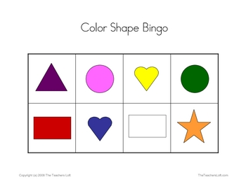 Color Shape Bingo Game - PreK - Kindergarten