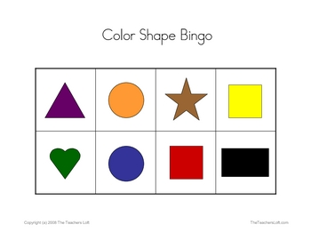 Color Shape Bingo Game - PreK - Kindergarten