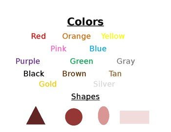 Color & Shape Charts