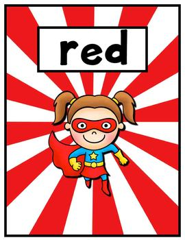Color, Shape, and Center Posters - Superhero Theme