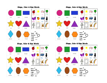 Color, Shape and Size Word Mini Chart