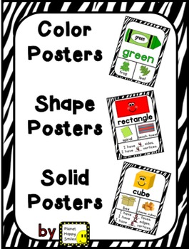 Color, Shape, and Solid Posters ~ Zebra