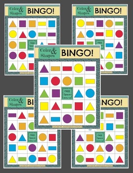 Color & Shapes BINGO!-Printable Boards-Game Instructions, Aligned to Common Core