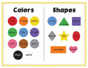 Color/Shapes/Number/Alphabet Sheet