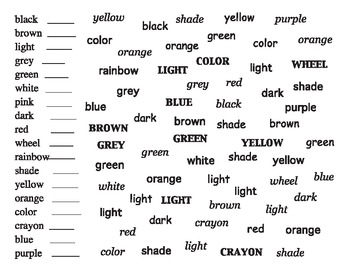 "Color ""Sight Word"" Activities"