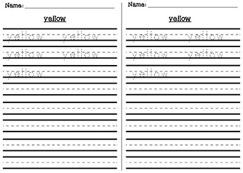 Color Sight Word Handwriting Practice Sheets