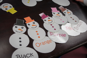 Color Sight Word Matching Snowmen Cards