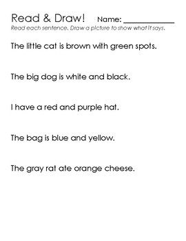 Color Sight Word Recognition