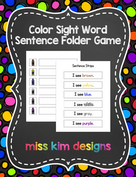 Color Sight Word Sentence File Folder Game for students wi