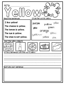Color Sight Word Worksheets