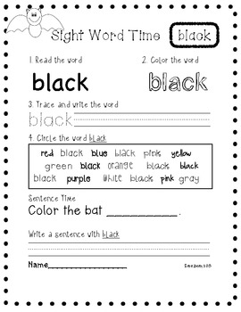 Color Sight Word Writing