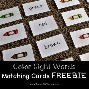 Color Sight Words Matching Flash Cards FREEBIE