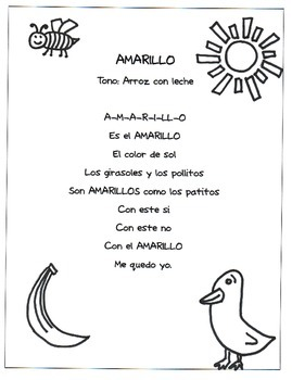 Color Songs in Spanish - Amarillo Worksheet