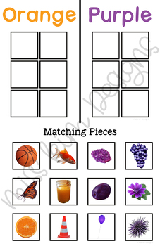 Color Sort by Picture Folder Game for Early Childhood Special Education