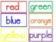 Color Sorting Cards Flashcards Pocket Chart sight words I see the red blue